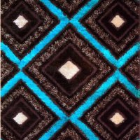 """Royal Collection Turquoise Blue Brown Contemporary Design Shaggy Shag Area Rug (6096) (4'5""""x6'7"""")"""