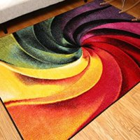 Radiance Art Collection Contemporary Modern Swirl Yellow Blue Orange Purple Wool Area Rug Rugs 6006 2 x 3
