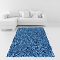 """Soft Shag Area Rug 3'3"""" x 4'8"""" (39"""" by 56"""") Plain Solid Color NAVY BLUE Shaggy Rug - Living Bedroom Kitchen Modern Shaggy Rugs"""