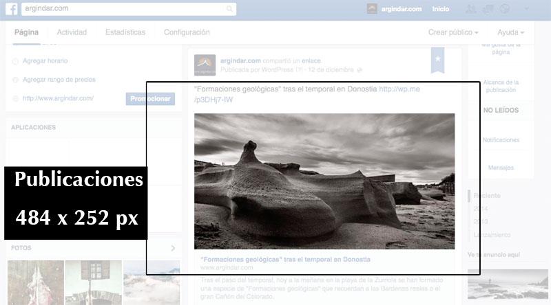 Tamaño publicaciones facebook