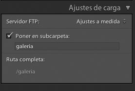 galeria web lightroon ajustes de carga ftp