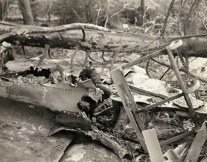Charred remains of a German pilot, the plane was brought down by small arms fire on March 15, first day of Seventh Army offensive in Germany.
