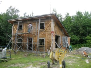 Tim, was busy when off working on his straw bale garage to serve as a temporary home