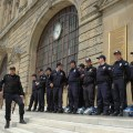 Security forces during the Haydarpasha genocide commemoration event in Istanbul on April 24, 2010. (Photo by Mujgan Arpat)