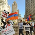 Armenian community members demand justice in front of the Turkish Consulate in Chicago.