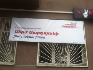 A campaign office for President Sarkisian in Yerevan. (Photo: The Armenian Weekly)