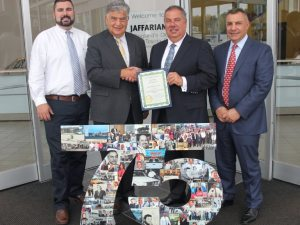 City of Haverhill honored Jaffarian Volvo & Toyota for 75 years of continuous business through four generations. (L-R) Gavin Jaffarian, Mayor James Fiorentini, and brothers Gary and Mark Jaffarian, who spearhead the enterprise.