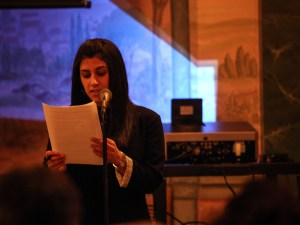 Barsoumian delivering her speech (Photo by Aaron Spagnolo)