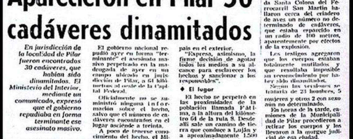 Recorte del diario Clarín cuando se produjo la Masacre de Fátima