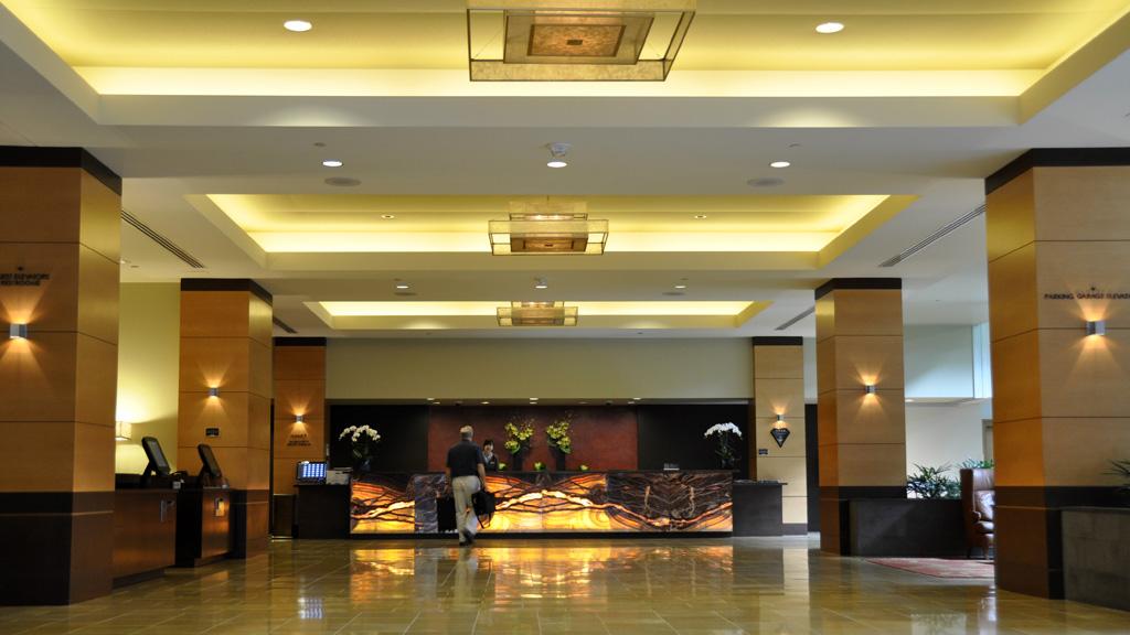 Stunning lobby of the upscale Hyatt Regency Bellevue hotel. Credit: Curt Woodhall, Arrivals