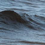Eine Welle hebt sich aus dem Chiemsee