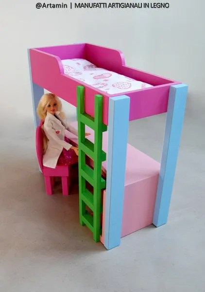 il letto di barbie, giocattolo in legno per bambole - shop Artamin