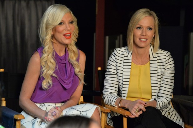 Tori Spelling and Jennie Garth on the Set of Mystery Girls #ABCFamilyEvent #MysteryGirls