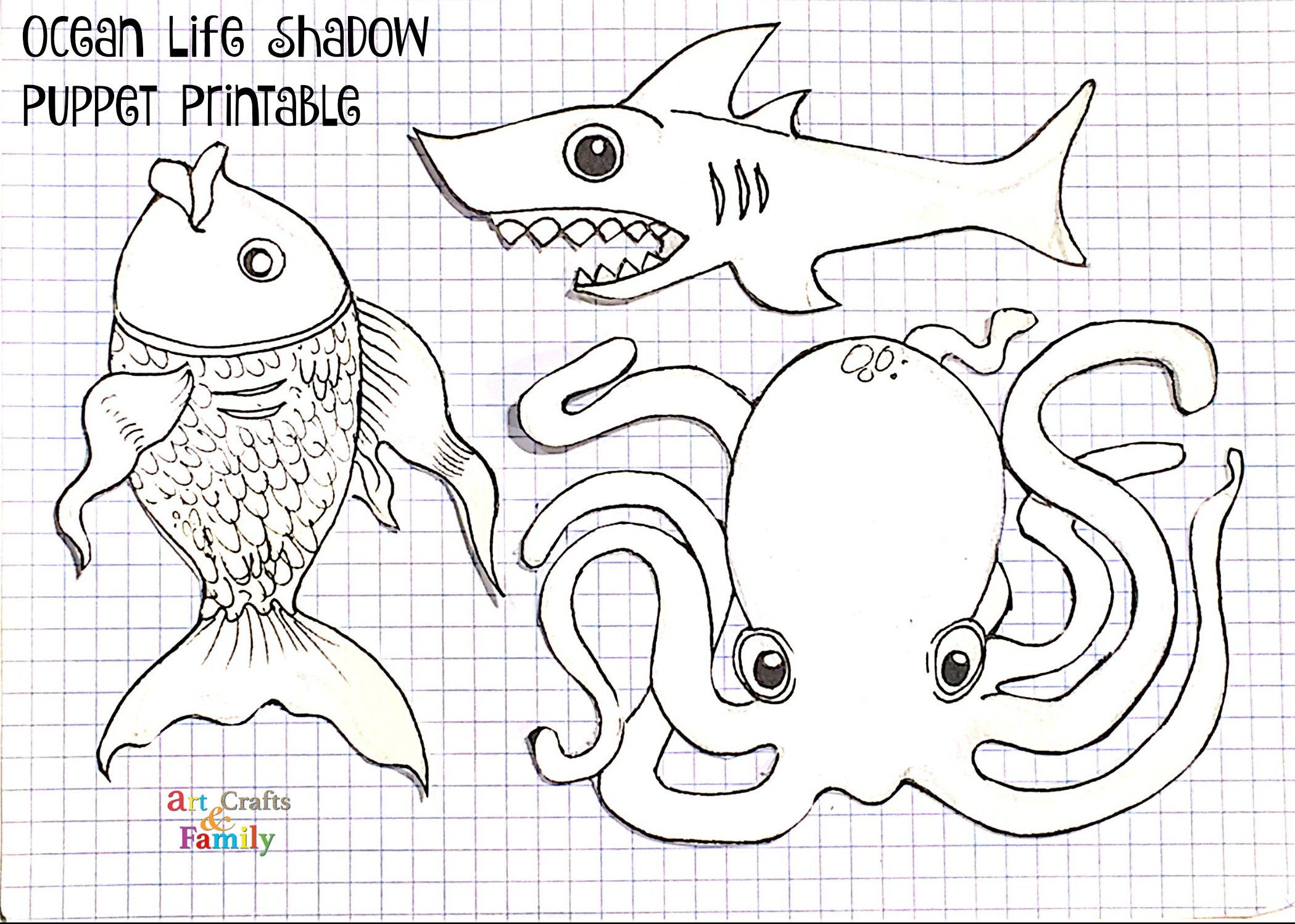 Ocean Life Shadow Puppets Including Free Printable