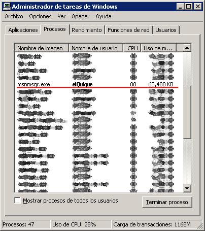 Administrador de Tareas de Windows XP