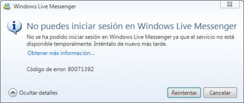 Error msn 80071392