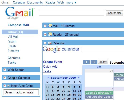 Integrar GMail Google Reader y Calendar