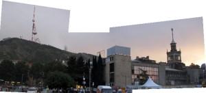 Panoramic shot of Tbilisi at sunset