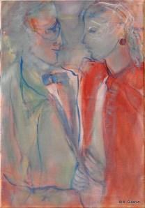 H35 - Complicité en rouge et bleu (55 x 58 cm)