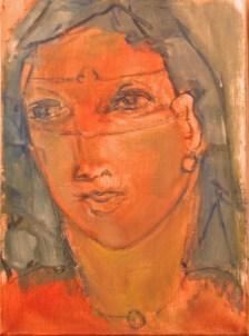 Portrait au masque Huile sur toile 33 x 24 cm