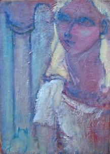Femme à la colonne Huile sur toile 35 x 27 cm