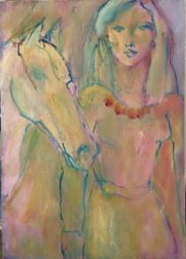 Cheval et collier rouge Huile sur toile l46 x H65 cm