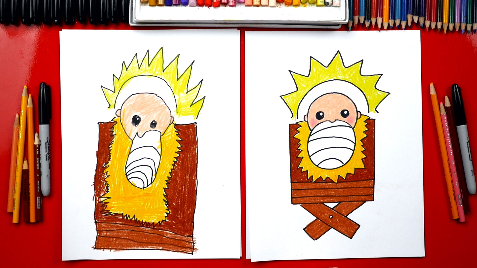 How To Draw Baby Jesus In A Manger     Nativity