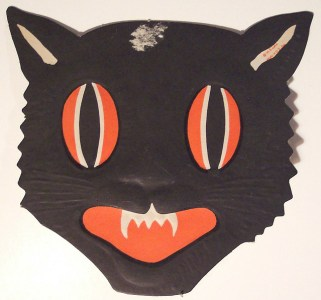 black cat vintage mask halloween