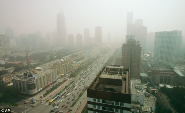 Pollution in Beijing blocks out the cityscape