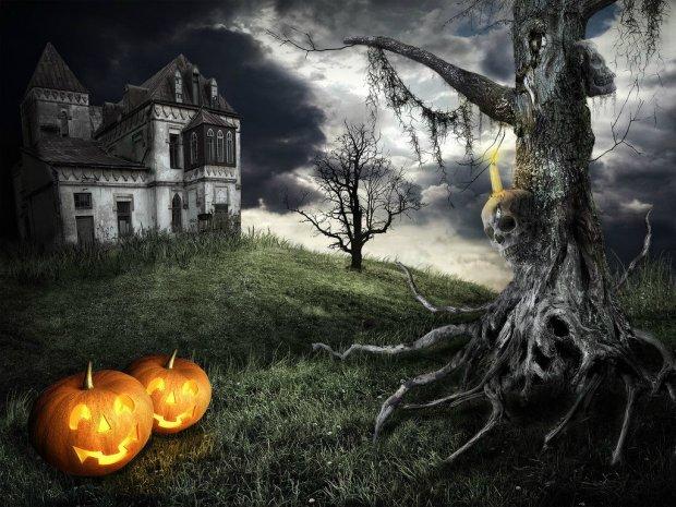 spooky halloween setting