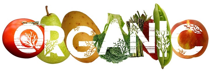 organic: Word art overlaying vegetables
