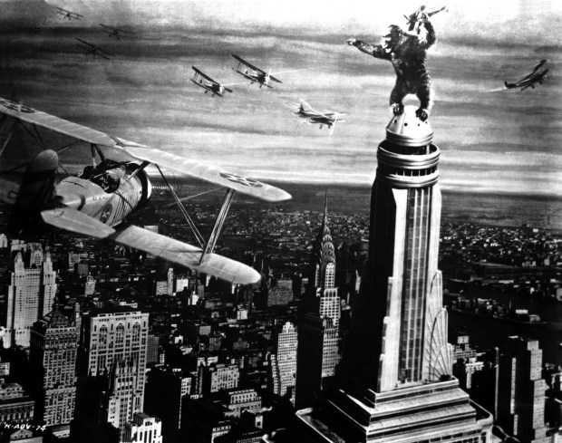 Old Movies: Image capture from King Kong. Kong being attacked by airplanes.