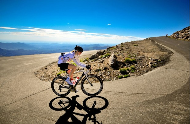 bicycle routes: Mt. Evans, Colorado. Kyla Bryant on bicycle