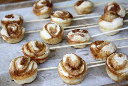 cinnamon rolls on a stick
