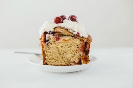 orange brioche cake with sugared cranberries and cream cheese frosting | bread in 5