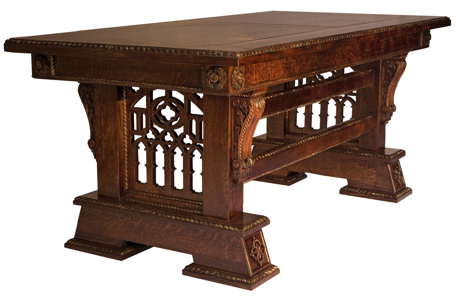pf tb page1 custom kitchen tables Custom Made Hand Carved New Wave Gothic Desk Library Table by Artisans of