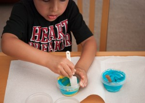mix, mix, mix! show how to scrape the sides of the container