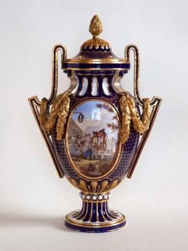 Vase from a Set of Three Blue Nouveau Vases