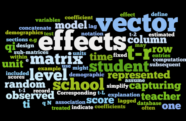 Figure 1. Words used to describe the statistical model used to evaluate a classroom teacher in Florida!