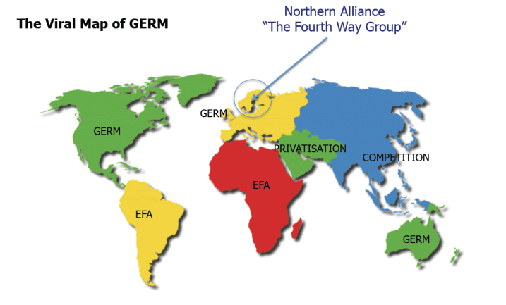Figure 1. The Viral Map of GERM. Pasi Sahlberg, Centre for International Mobility, Finland, Extracted from Website: http://www.icsei.net/fileadmin/ICSEI/icsei_2012/Pasi_ICSEI_2012_web.pdf