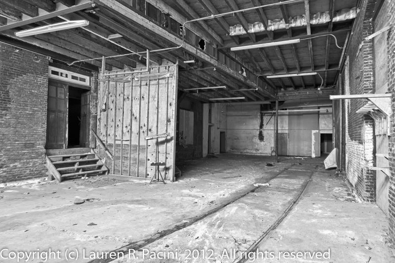 Interior View of Forest City Brewing Company Showing Railroad Tracks