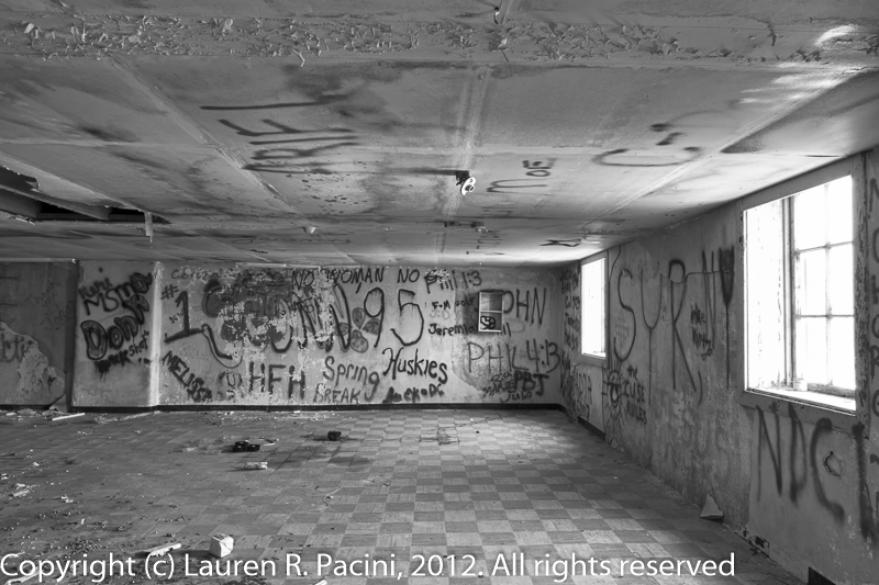 Interior View of Forest City Brewing Company - Note the Graffiti