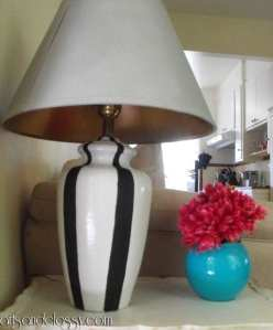 Goodwill Table Lamp Striped Makeover