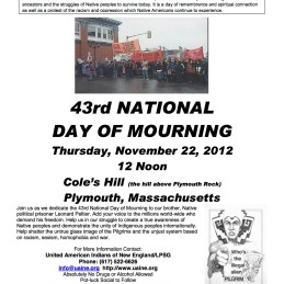 Poster for the 43rd National Day of Mourning at Plymouth Rock