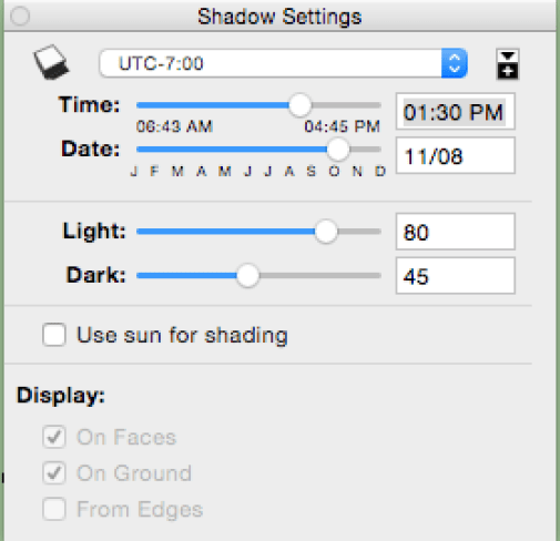 The Shadows menu controls the shadows. Click the cube in the top left to activate it!