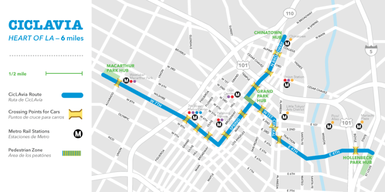 Map for Ciclavia Bike Route -Color and Key