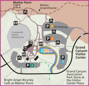 Grand Canyon Map - Symbols and Information