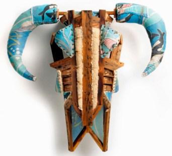 """Squirt"" (ocean-bed), 42 x 41 x 19 inches, 2011, Found box spring mattress, by Bryan Christiansen."