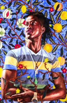 """Portrait of Toks Adewetan (Christ, The King of Glory)"", 2016, oil on canvas, by Kehinde Wiley,  Wadsworth Atheneum Museum of Art, Gift of Anonymous Donor, 2016.6.1"