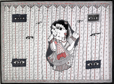 Painting of Indian women breaking through a curtain